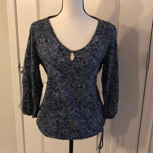 Small Lucky Brand Paisley 3/4 Sleeve Shirt Blouse